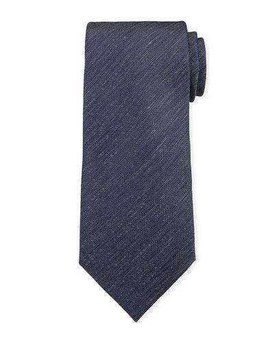 Two-Tone Chevron Silk Tie, Navy/White