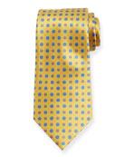 Ermenegildo Zegna Alternating Flowers Silk Tie, Yellow