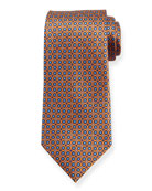 Ermenegildo Zegna Boxes and Circles Silk Tie, Orange