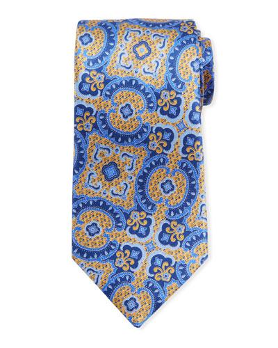 Medium Paisley Silk Tie, Yellow/Blue