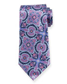 Ermenegildo Zegna Medium Paisley Silk Tie, Purple/Blue