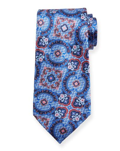 Medium Paisley Silk Tie, Blue/Pink