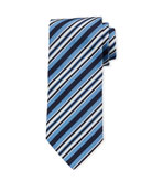 Ermenegildo Zegna Multi-Stripe Silk Tie, Light Blue