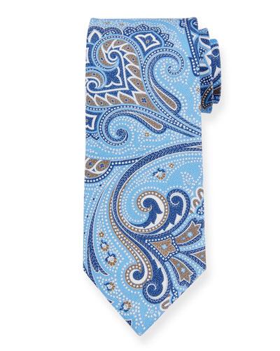 Paisley Silk Tie, Light Blue