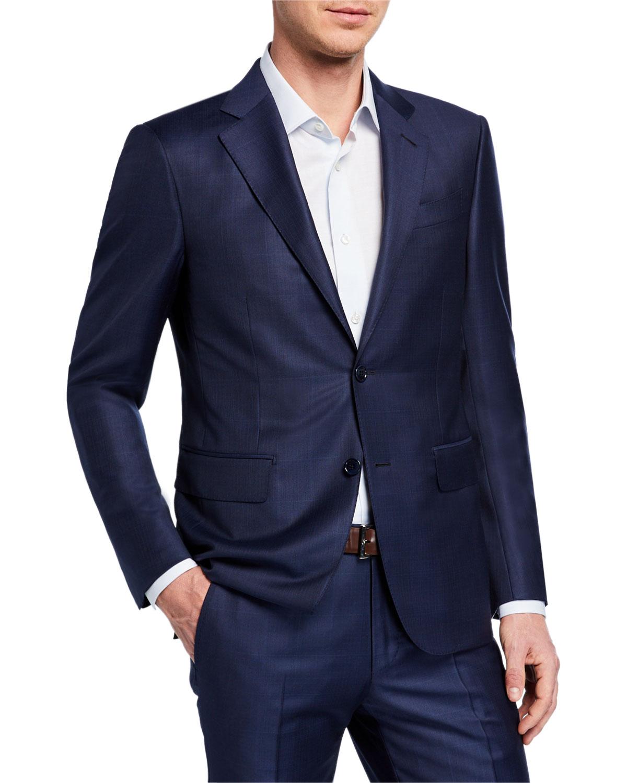 Ermenegildo Zegna Men S Tonal Windowpane Two-Piece Wool Suit In Navy ... 1a8a1c0eb516