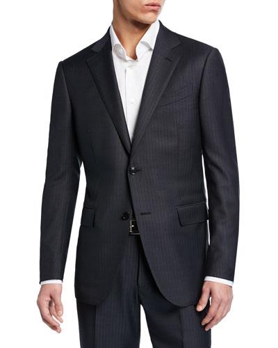 Men's Tonal Stripe Two-Piece Wool/Silk Suit
