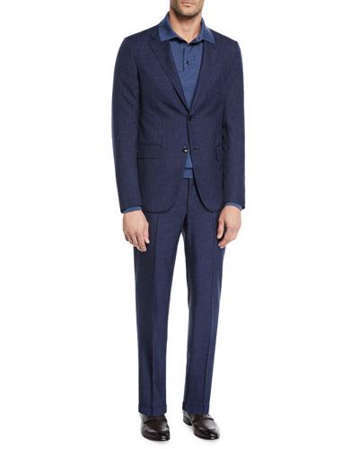 Men's Two-Piece Striated Tic Suit