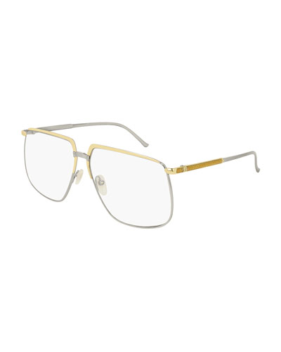 Men's Flat-Top Two-Tone Metal Sunglasses