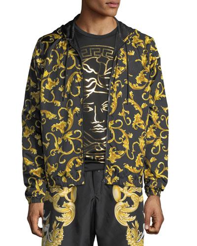 Men's Baroque Scroll Zip-Front Hoodie