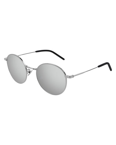 06ee25c80f74 Quick Look. Saint Laurent · Men's Round Metal Mirrored Sunglasses.  Available in Silver