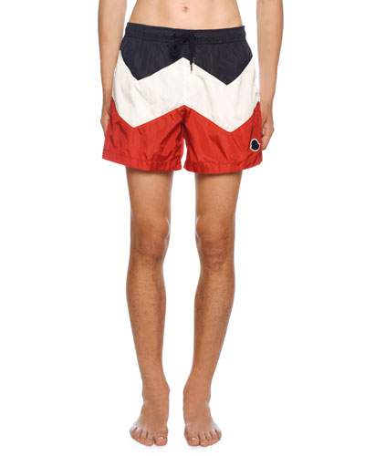 fa5e48d9ee Quick Look. Moncler · Men's Tricolor Swim Trunks. Available in Navy