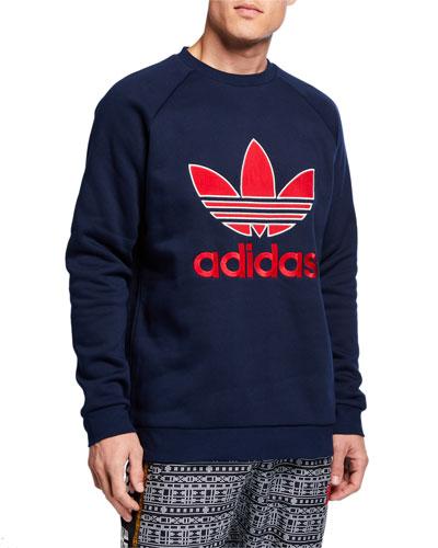 Men's Trefoil-Applique Boxy Sweatshirt