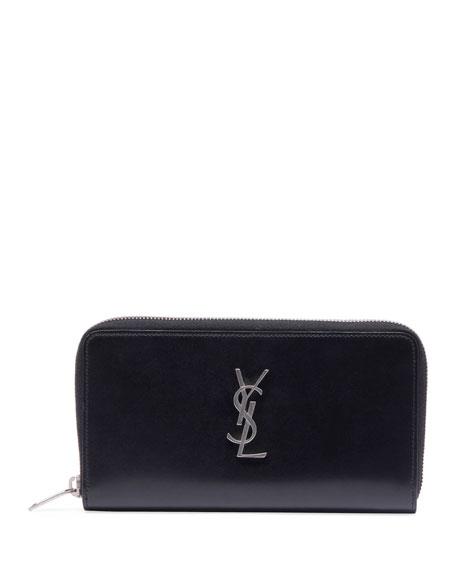 Saint Laurent Men's YSL Monogram Leather Zip Wallet