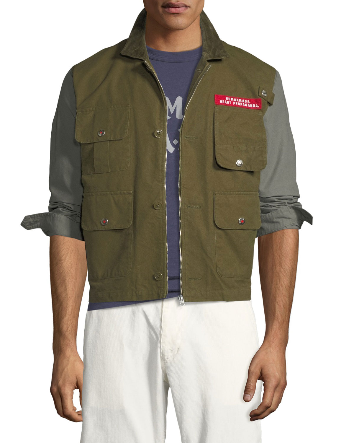 HUMAN MADE Men'S Colorblock Twill Hunting Jacket in Olive