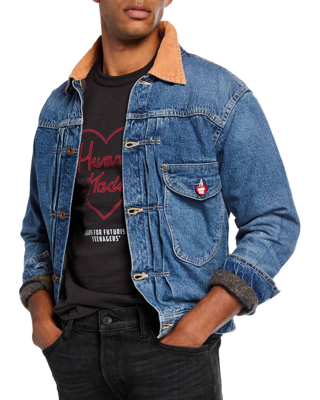 HUMAN MADE Men'S Corduroy-Trim Lined Denim Jacket in Blue