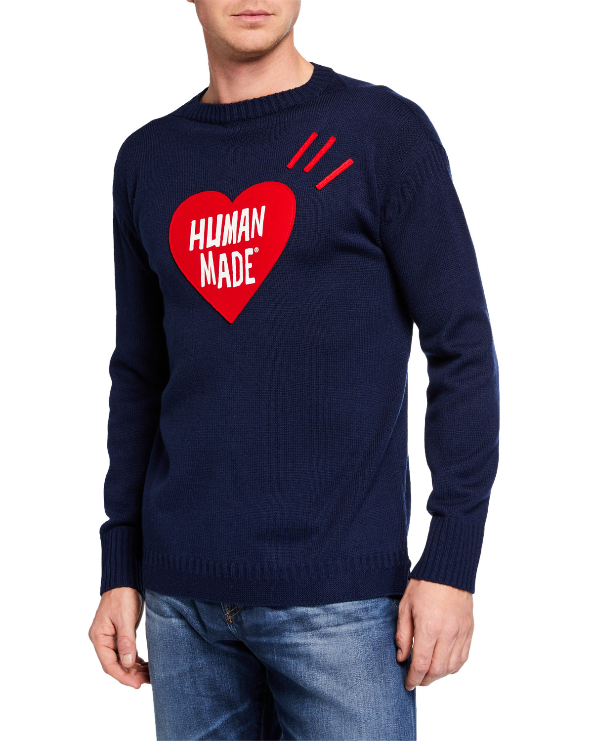 HUMAN MADE Men'S Heart Knit Sweater in Navy