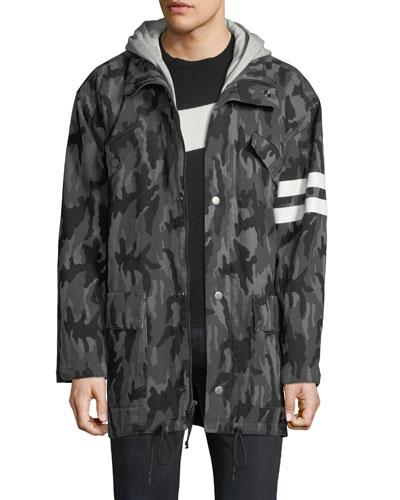 Men's Hooded Camo Parka Jacket