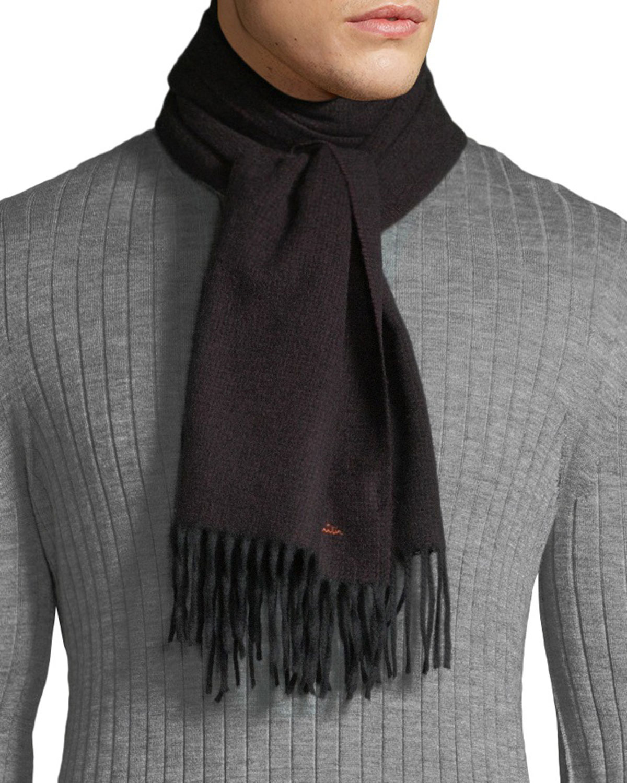 PAUL SMITH Men'S Multi-Stripe Wool Herringbone Scarf