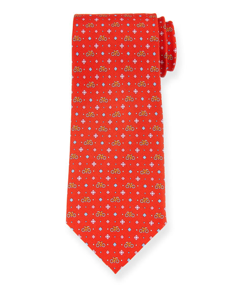 Salvatore Ferragamo Graziel Bicycle Silk Tie, Red