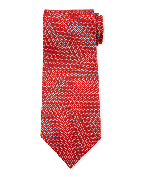 Salvatore Ferragamo Grey Gancio Silk Tie, Red