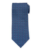 Salvatore Ferragamo Grey Gancio Silk Tie, Blue
