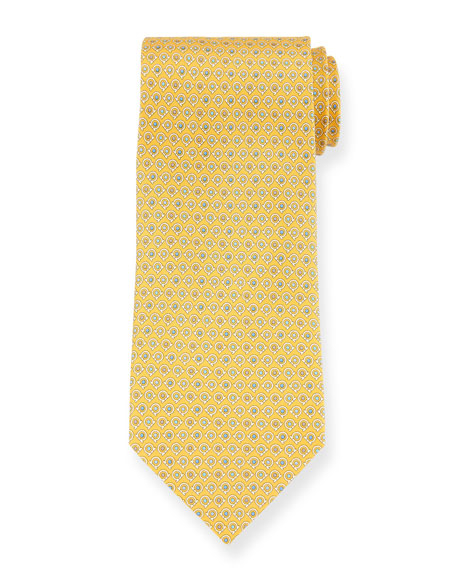 Salvatore Ferragamo Grey Gancio Silk Tie, Yellow