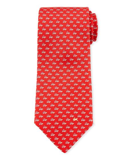 Salvatore Ferragamo Gaudio Turtles Silk Tie, Red