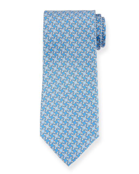 Salvatore Ferragamo Geo Dolphins Silk Tie. Blue