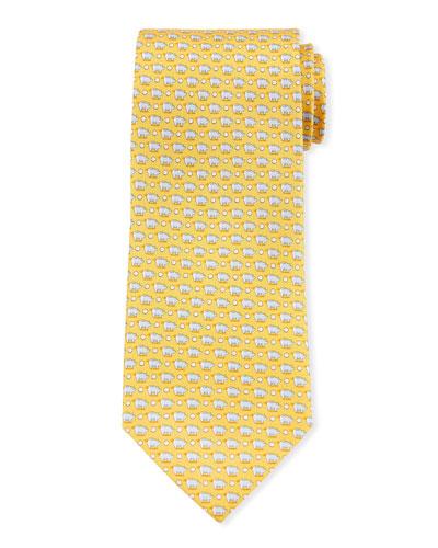 Giusto Piggy Bank Silk Tie, Yellow