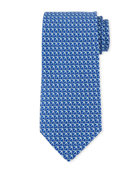 Salvatore Ferragamo Giugno Birds Tie, Blue