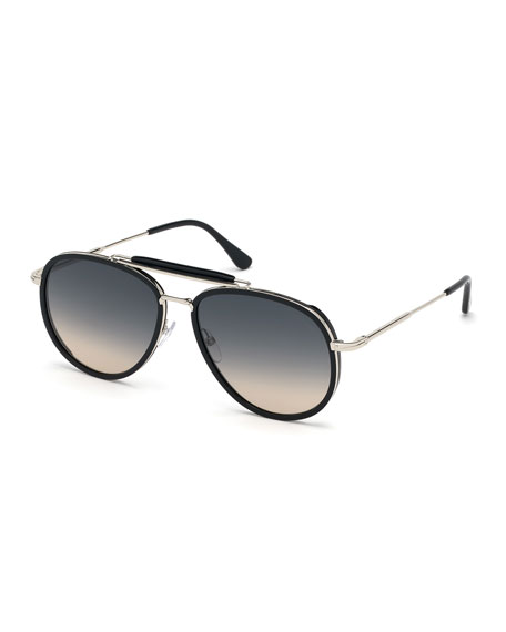 TOM FORD Men's Tripp Havana Aviator Sunglasses, Black/Gray