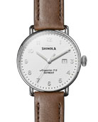 Shinola Men's 43mm Canfield 3HD Leather-Strap Watch