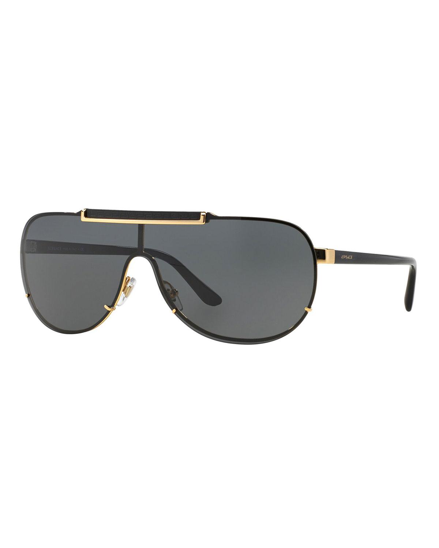Men's Greek Key Shield Sunglasses