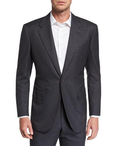 Men's Two-Piece Solid Wool Suit