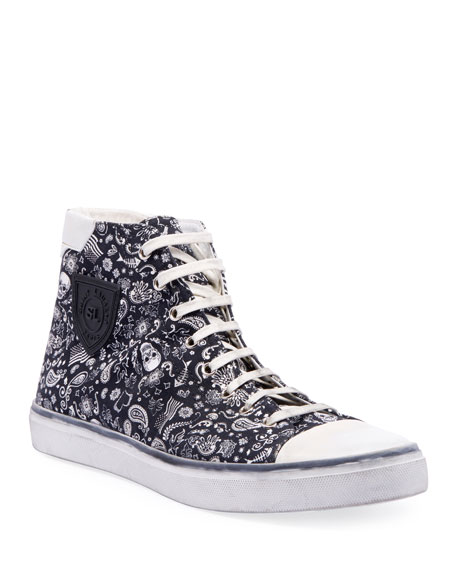 Saint Laurent Men's Bedford Graphic Canvas High-Top Sneakers