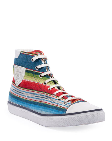 Saint Laurent Men's Bedford Southwest Striped High-Top Sneakers