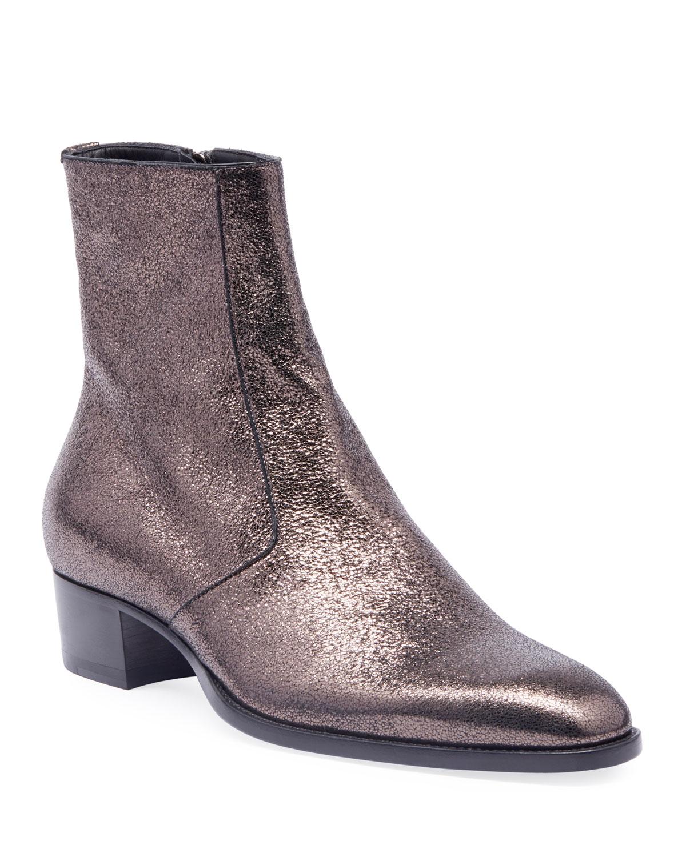 Men's Wyatt 40mm Metallic Leather Ankle Boots, Black