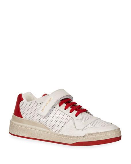 Saint Laurent Men's Travis Leather Grip-Strap Sneakers