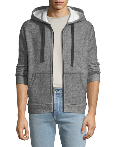 Men's Melange Double-Knit Zip-Front Hoodie