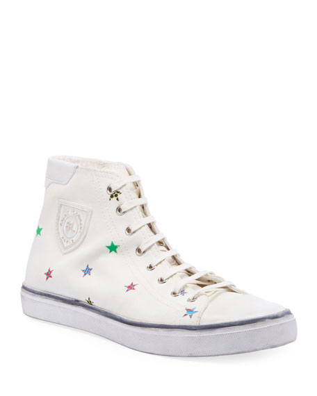 Saint Laurent Men's Bedford Star-Print High-Top Sneakers