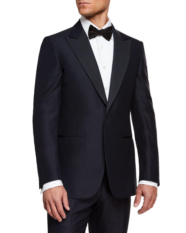 Men's Silk-Lapel Wool Two-Piece Tuxedo Suit