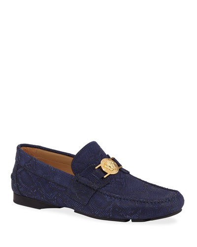 Men's Python-Embossed Medusa Loafers