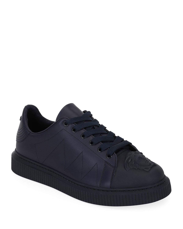 Men'S Medusa Chunky Sneaker In Leather in Navy