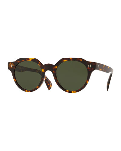 Men's Irven Faceted Round Acetate Sunglasses - DM2