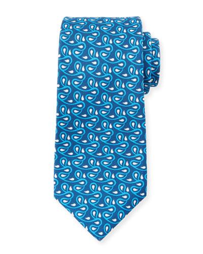 Men's Printed Vines Tie, Blue