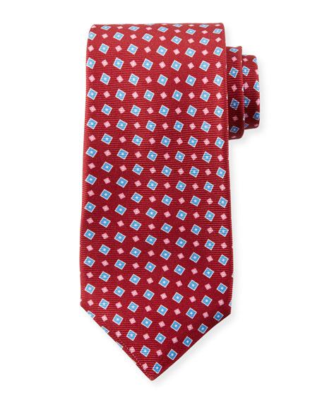 Kiton Men's Tilted Squares Tie, Red