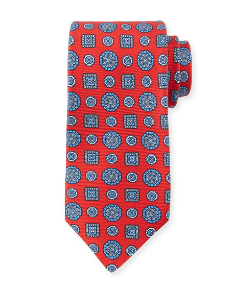 Kiton Men's Multi Medallions Tie, Red