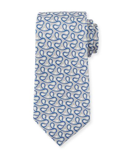 Men's Printed Vines Tie, Gray