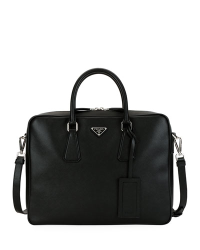 Men's Saffiano Leather Travel Briefcase