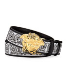 Versace Men's Scroll-Print Leather Belt